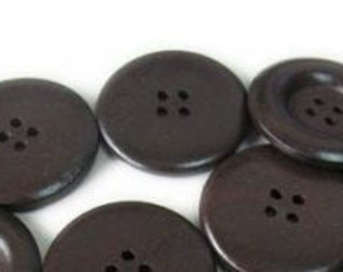 30mm Buttons Lacquered 4-hole Black Brown Button Wooden 1 inches Buttons DIY Craft Supplies Findings.