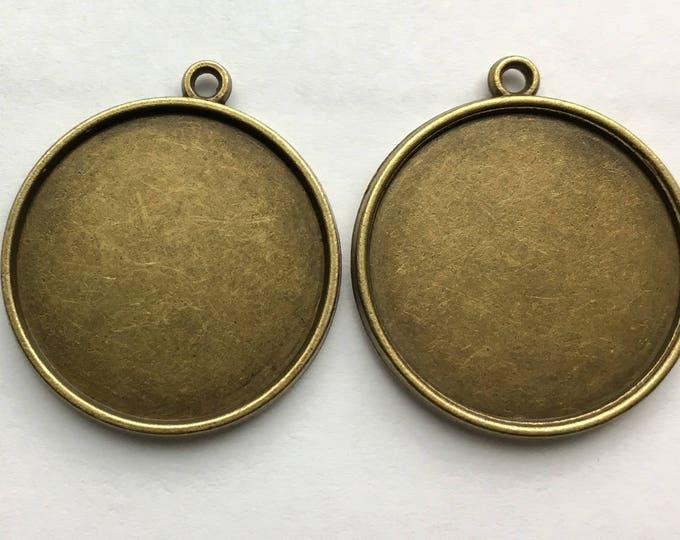 25mm Pendant Double Sided Bronze Round Bezel Setting  1 Inch Tray, DIY Jewelry Making Pendant Bracelet Necklaces 10Pcs / 20 Pcs / 40 Pcs.