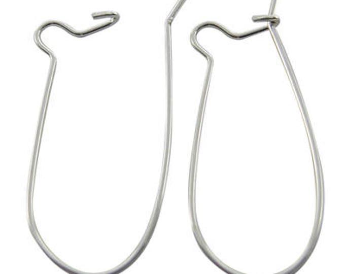 33x14mm Hoop Earrings Silver Components Kidney Ear Wires, DIY Jewelry Making Supplies Findings