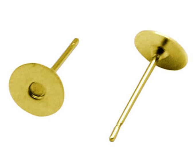 4mm EarStud Golden Earring Findings Flat Pad ,Stud Earring Posts, Stud Earring Blanks, DIY Jewelry Making Findings 100 pcs