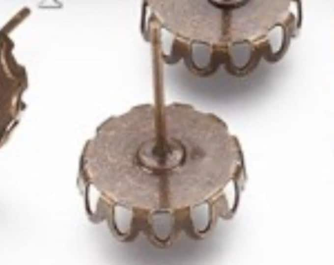 10mm Ear studs Earring Components, Antique bronze Studs, DIY Jewelry, Cabochon Jewelry.