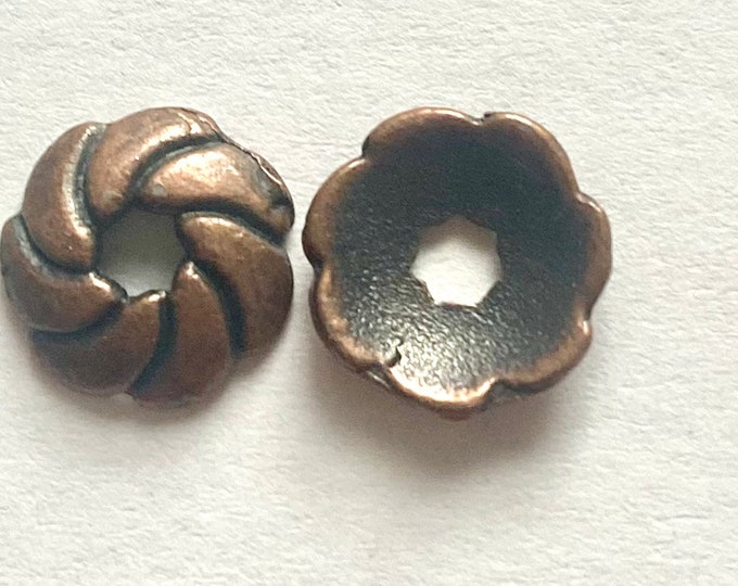 9mm Beadcaps Red Copper DIY Jewelry Making Findings.