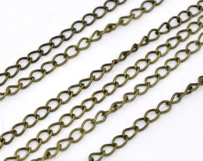 6x3mm Side Twisted Chain Curb antique bronze Chain DIY Jewelry Making Supplies Findings