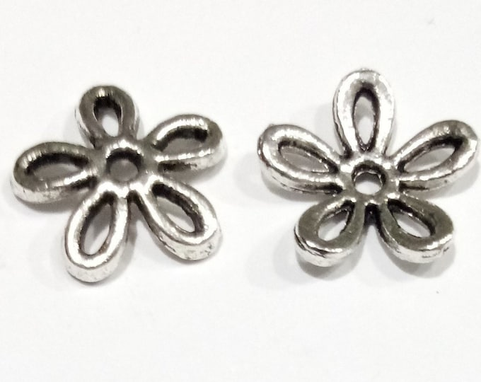11mm Beadcaps Flower Tone Antique Silver DIY Jewelry Making Findings.