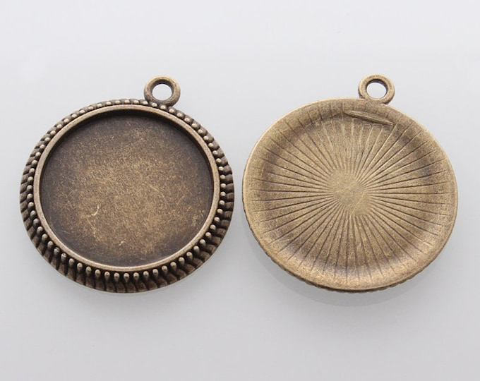 25mm Bronze Cabochon Setting Pendant Bezel Tray Antique Bronze Round Inner Tray DIY Findings for Jewelry Making.