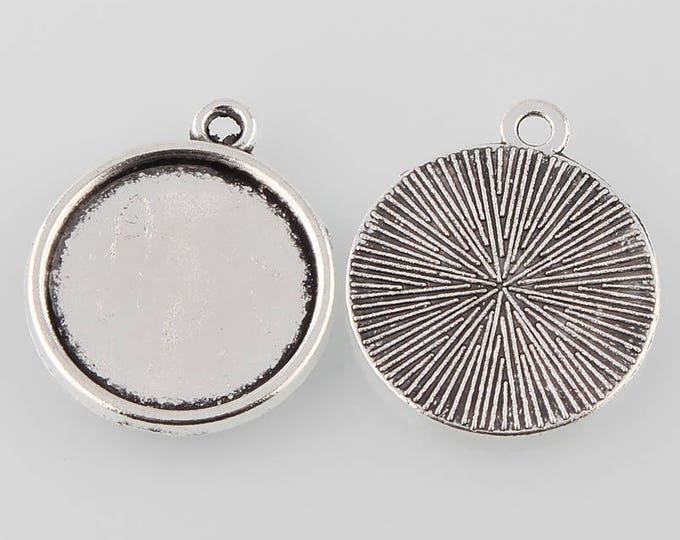Antique Silver 16mm Cabochons Pendant Tray Setting and  Bezel Trays DIY Jewelry Making Findings 10pcs / 20pcs/50pcs.