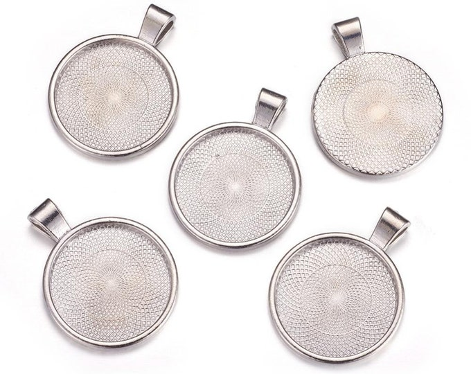 Silver Pendant 25mm Flat Round Cabochon Setting Pendant Bezel Tray Inner Antique Silver  DIY Findings for Jewelry Making 5pcs/10pcs/20pcs.