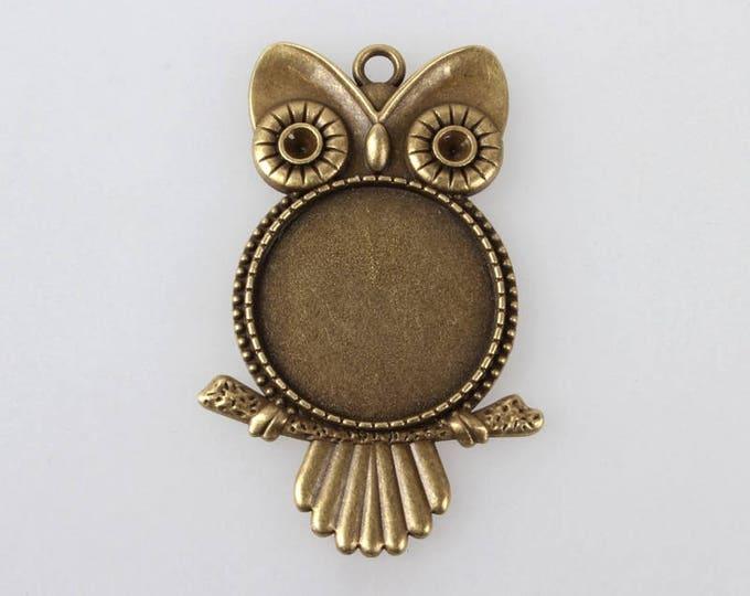 25mm Bronze Owl Cabochon Setting Antique Bronze Bezel Tray, Inner tray DIY Jewelry Findings 5 Pcs / 10 Pcs
