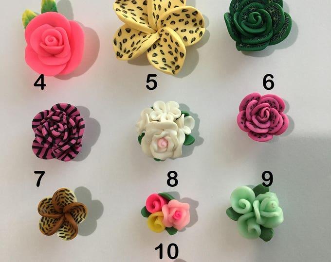 Clay Flower cabochons Polymer Handmade, Mixed Style, Mixed Color 4pcs/6pcs/8pcs