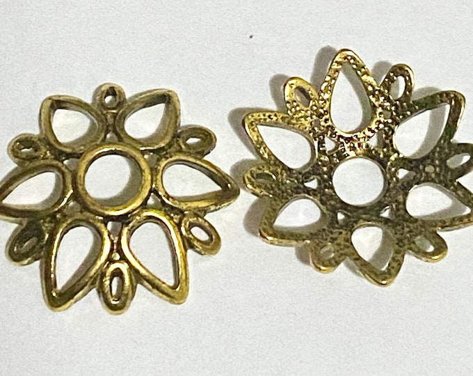 24mm Bead Cap Antique Gold flower DIY Jewelry Making Findings.