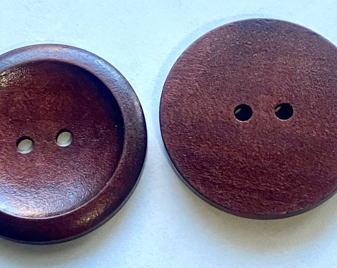 40mm Wooden Flat Round Buttons, 2-Hole, Coconut Brown DIY Craft Supplies Findings.