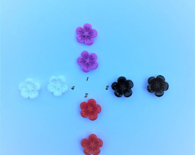 13mm Resin Flower Cabochons Mixed Color Opaque Flower DIY Jewelry Findings