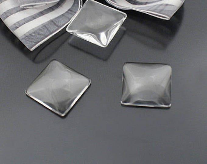 16x16mm Square Glass Clear Cabochons Bezel Domes DIY Jewelry Pendant Bracelet Necklaces, 50 Pcs