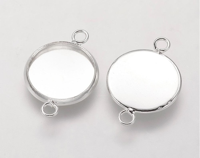 12mm Connector Silver Inner Tray Cabochon Round  Bezel Tray DIY Jewelry Findings 50 pcs