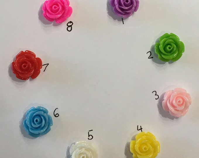 14mm Resin Flower Cabochon Mixed Color Rose Flower  DIY Jewelry Findings.