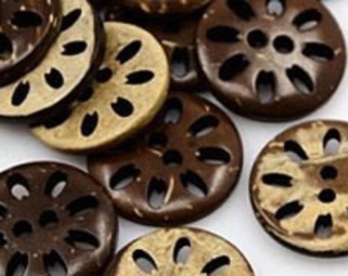 17mm Buttons Flower Carving CoconutBrown 2-Hole, Flat Round DIY Craft Supplies Findings.