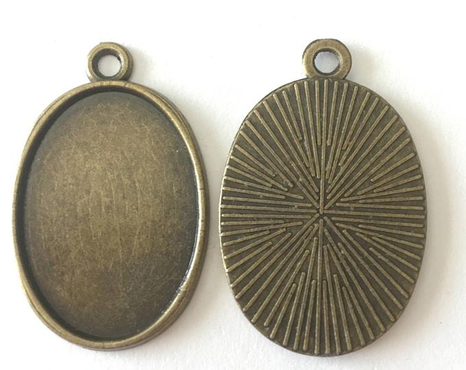 18x13mm Pendant Oval Cabochon Setting Pendant Antique Bronze Bezel Inner Tray  DIY Jewelry Pendant Bracelet Necklaces.