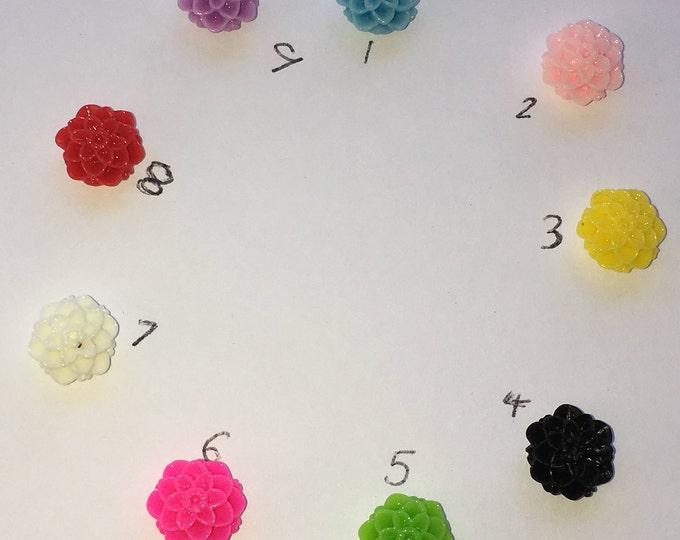 10mm Resin Flower Cabochon Mixed Color Mum Flower DIY Jewelry Findings.