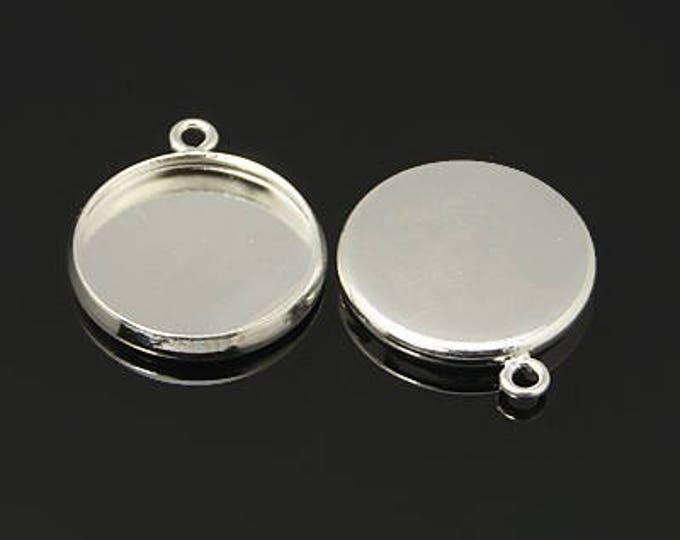 Silver pendant 14mm Round Cabochon Setting Bezel Tray DIY Jewelry Making Findings 10pcs/20pcs