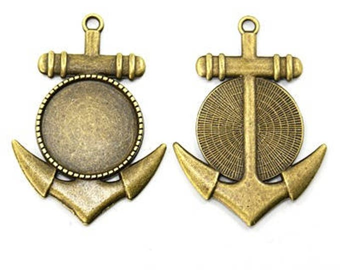20mm Anchor pendant Antique Bronze Round  Cabochon Settings,  Flat Round Tray DIY Jewelry Making  Supplies and Findings 10Pcs