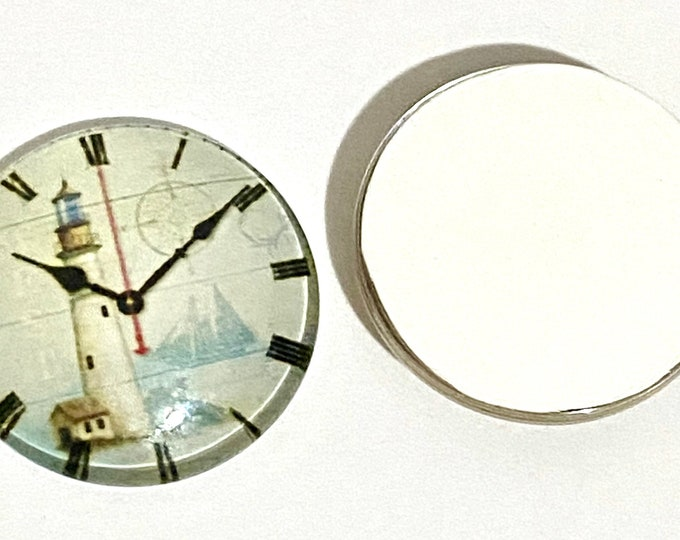 25mm Printed Half Glass Cabochons, Clock Mixed Color, DIY Jewelry Findings.