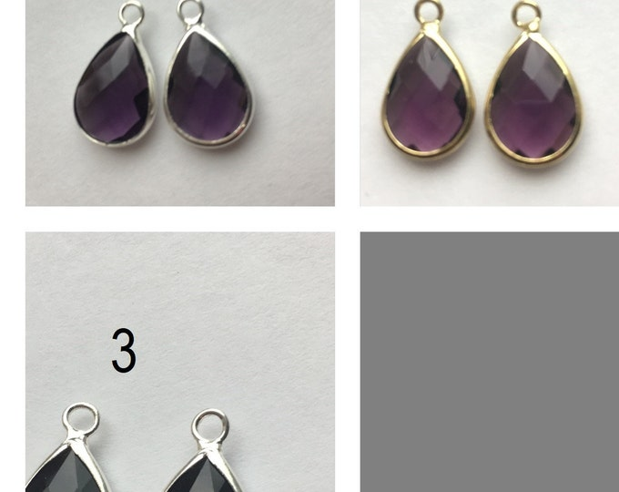 18mm Pendants Gold and Silver Glass Drop Tone Brass DIY Jewelry Making Findings.