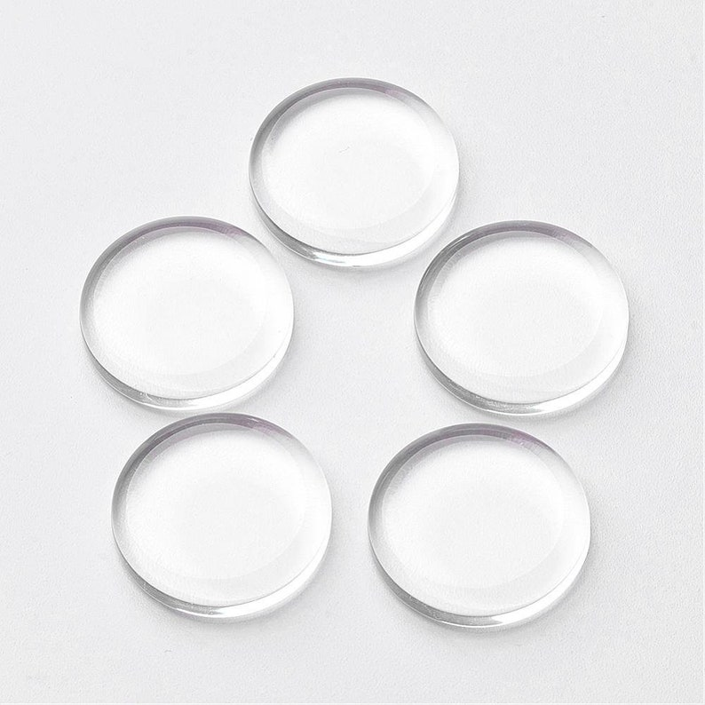Flat Glass 25mm Clear Transparent Cabochons Flat Domes DIY Jewelry Findings 2010 Pcs