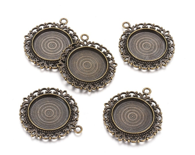 25mm Cabochons Pendant Antique Bronze Tray Setting  Bezel Trays, 1 Inch Trays DIY Jewelry Findings.