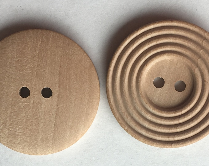 30mm Wooden Buttons 2-hole Natural Round Sewing Buttons, DIY Craft Supplies Findings.