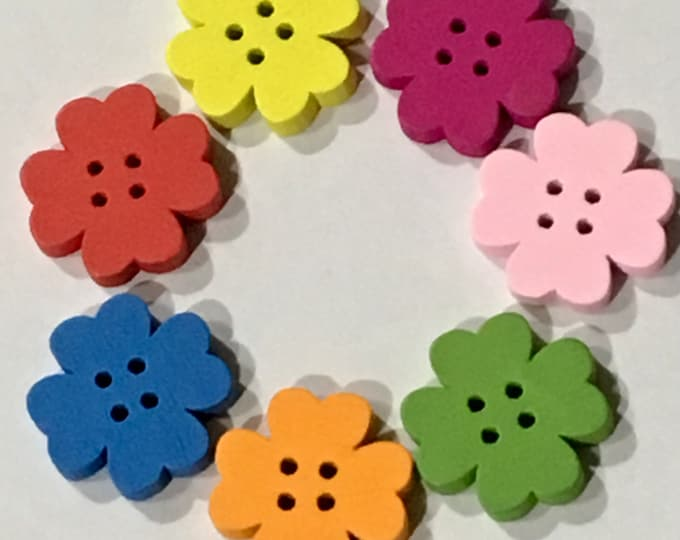 20mm Flower Shape Buttons Wooden Mixed Color 4 Hole Buttons DIY Craft Supplies Findings.