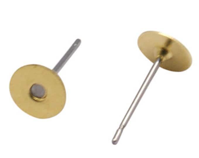 6mm EarStud Unplated Earring Findings Flat Pad Golden Posts, Stud Earring Blanks, DIY Jewelry making Finding 50pcs/ 100pcs / 200pc