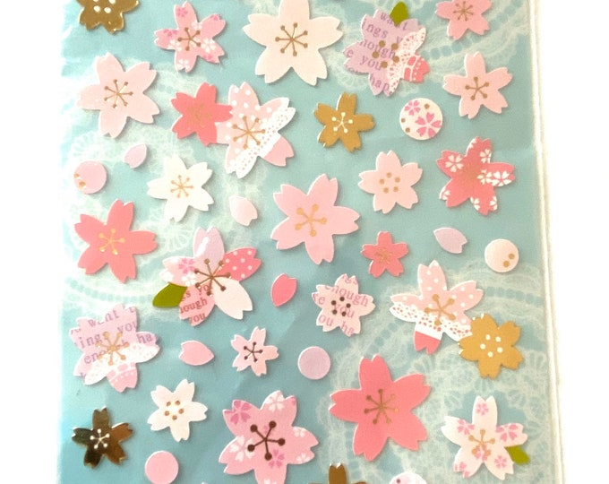 Cherry  Flower Craft Sticker Sheet for Planning, Journaling, Collecting or Scrap booking. 1 Sheet