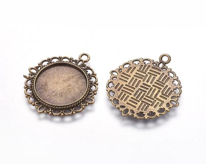 20mm Cabochon Pendants Antique Bronze Tray Setting Bezel Trays DIY Jewelry Findings.