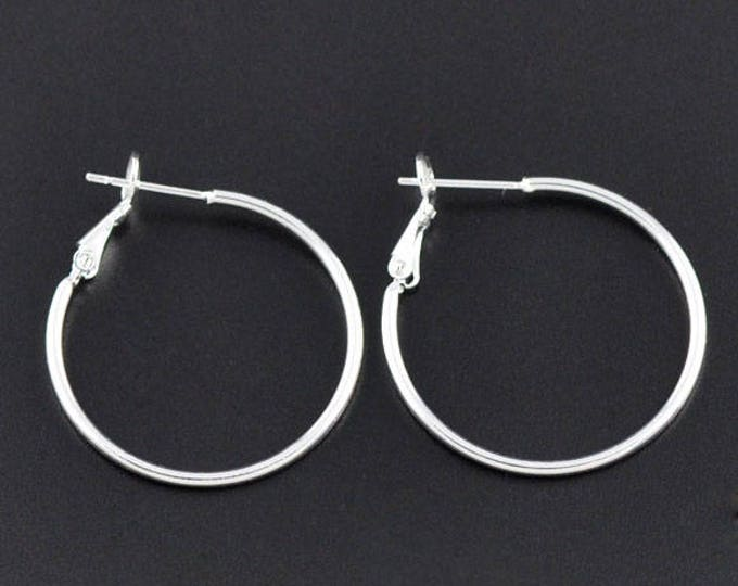 35mm Silver Hoop Earrings DIY Jewelry Making Findings.