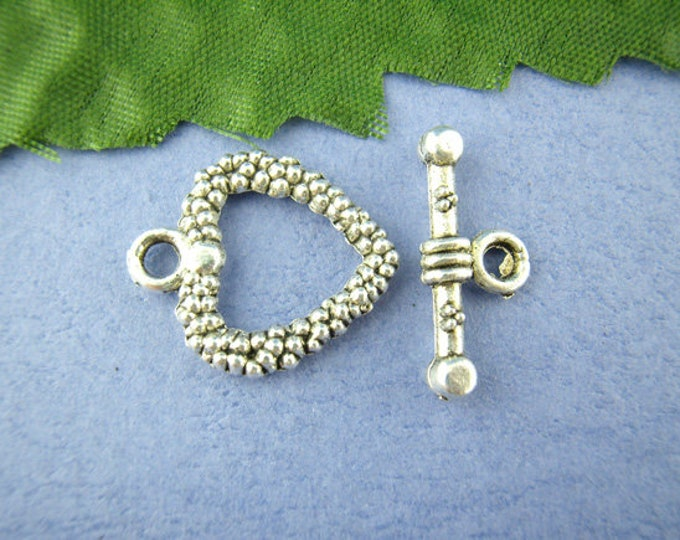 16x19mm Toggle Clasp Heart Antique Silver  DIY Jewelry Making Supplies Findings.
