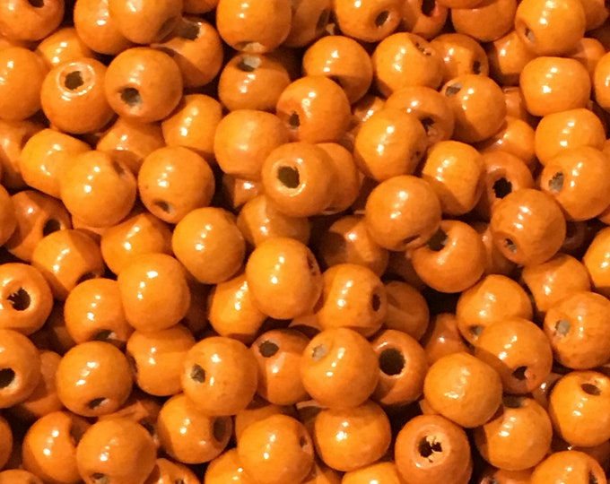 9mm Dyed Wood Beads, Orange Round, DIY Jewelry Making Supplies and Findings.