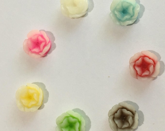 13mm Resin Cabochon Mixed Color Flower, DIY Jewelry Making Findings