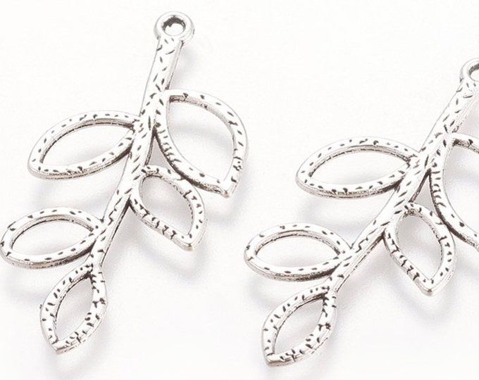 38mm Leaf Pendant Antique silver Pendant DIY Findings for Jewelry Making.