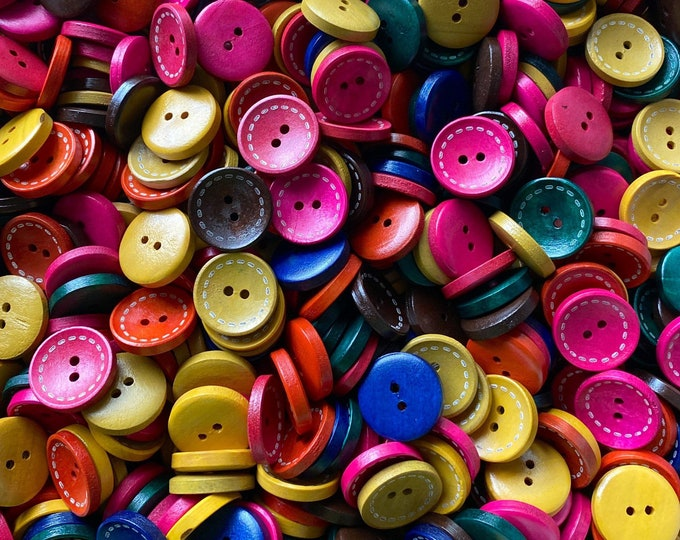 20mm Buttons stitch pattern wooden Round 2-Hole Mixed Colors DIY Craft Supplies Findings.