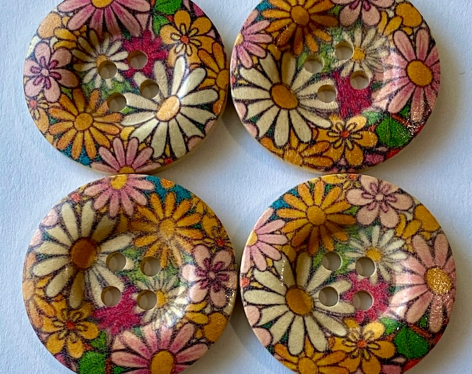 30mm Painted Pattern Buttons with 4-Hole Round  Wooden Buttons, DIY Craft Supplies Findings.