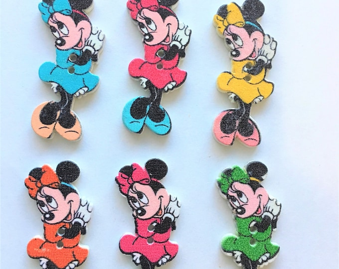 38mm Micky Buttons Wooden Mixed colors DIY Craft Supplies Findings.