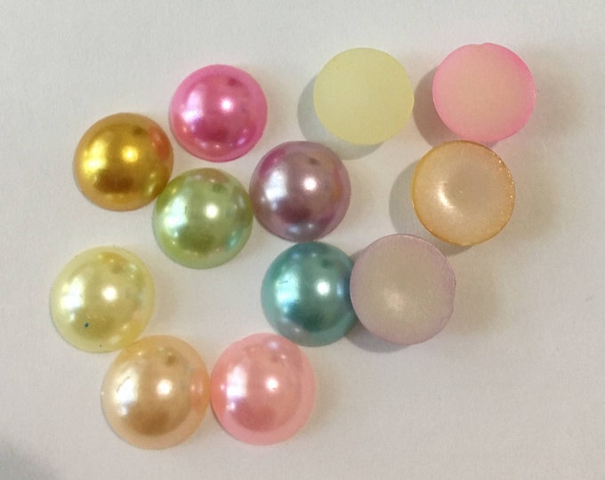 10mm Cabochons Imitation Pearl Half Pearl Acrylic Round, Mixed Color DIY Jewelry Making Findings.