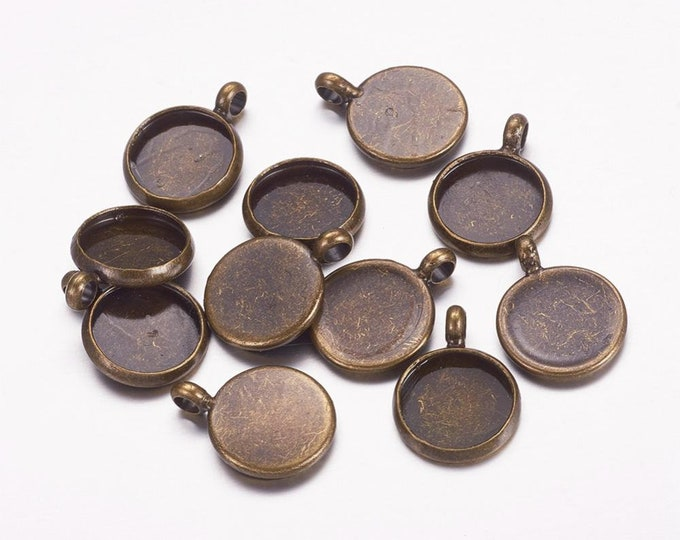 10mm Cabochon Setting Pendant Bezel Inner Tray Antique Bronze Round DIY Findings for Jewelry Making 50Pcs