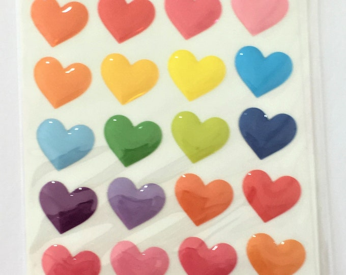 Hearts Stickers 28Pcs  Shiny Colorful DIY Craft Supplies Findings.1 Sheet