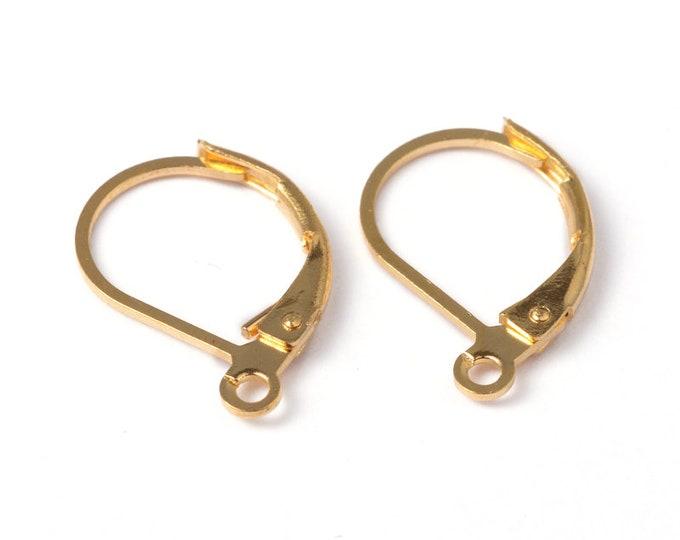 10x15mm Earrig Hooks Lever back  Golden DIY Jewelry Finding Supplies.