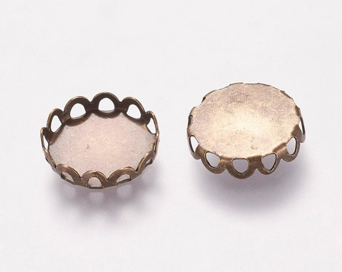 12mm Cabochon Settings  Pendant Bezel Inner Tray Bronze DIY Findings for Jewelry Making.