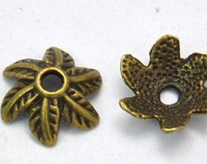 11mm Beadcaps Flower Antique bronze DIY Jewelry Making Findings.