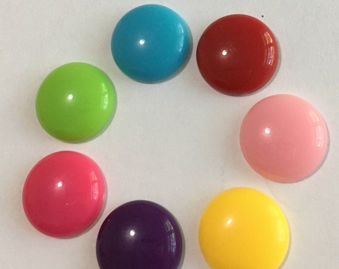 14mm Cabochons Acrylic Half Round Mixed Color DIY Jewelry Making Findings.