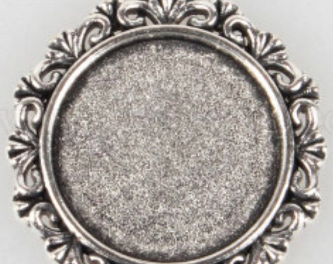 18mm Cabochons Pendant Antique Silver Tray Setting  Bezel Trays DIY Jewelry Findings.