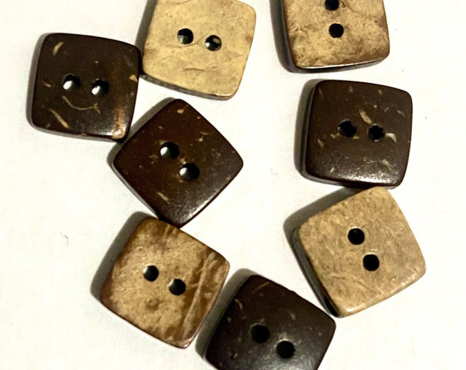10mm buttons Coconut 2 Hole Square Buttons DIY Craft Supplies Findings.